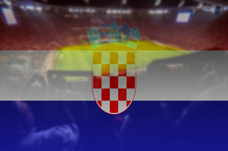 bandera de croacia: 2.016 euros estadio con la bandera de Croacia mezclando Foto de archivo