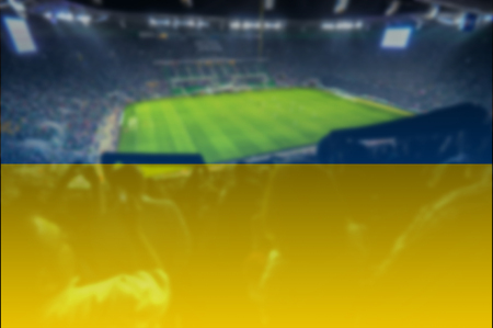 ukraine flag: euro 2016 stadium with blending Ukraine flag Stock Photo