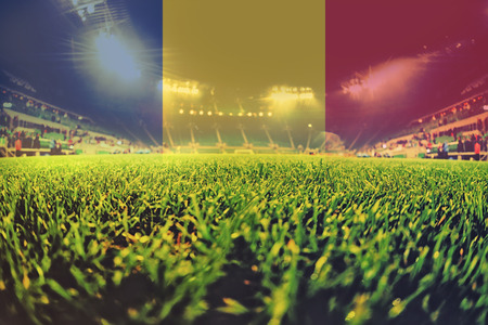 blending: euro 2016 stadium with blending Romania flag