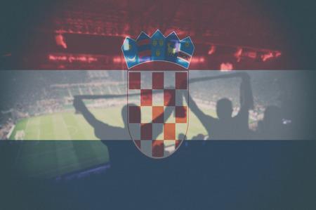 bandera croacia: 2.016 euros estadio con la bandera de Croacia mezclando Foto de archivo
