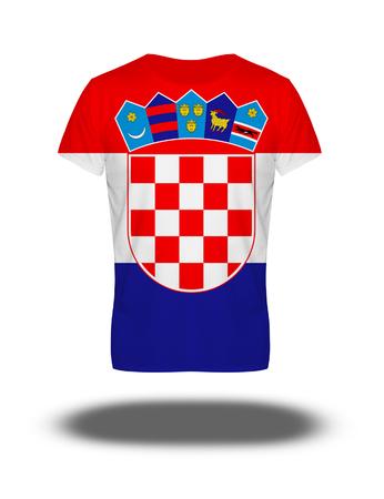 bandera croacia: Croatia  flag t-shirt on white background with shadow