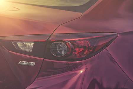 mazda: Wroclaw - APRIL 23 Mazda rear light at the Motor Show on April 23, 2016 in Wroclaw Poland.