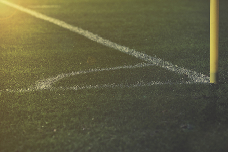soccer pitch: Corner kick field and white lines on soccer pitch