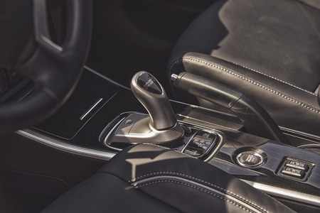outlander: Wroclaw, Poland, May 28, 2016: Close up on Mitsubishi Outlander gear box on Motoshow on May 28, 2016 in Poland