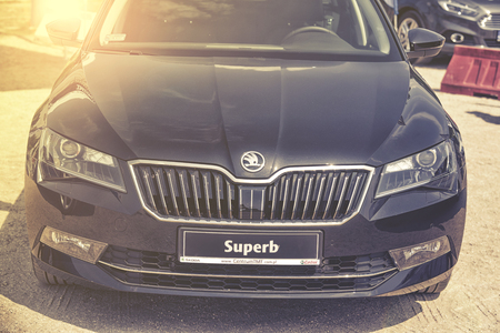superb: Wroclaw, Poland, May 28, 2016: Close up on Skoda Superb on Motoshow on May 28, 2016 in Poland Editorial