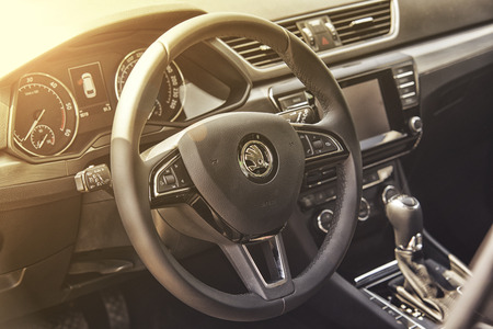sterring: Wroclaw, Poland, May 28, 2016: Close up on Skoda Superb sterring wheel on Motoshow on May 28, 2016 in Poland Editorial