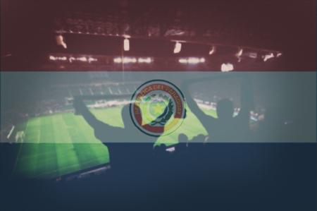 bandera de paraguay: el estadio de deportes con los ventiladores y la mezcla de la bandera de Paraguay