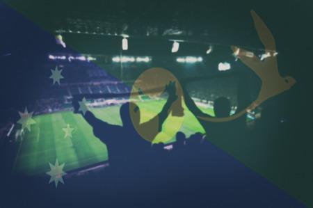 christma: sport stadium with fans and blending Christma Island  flag