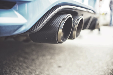 Double exhaust pipes of a modern sports car Stock Photo