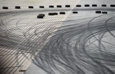 burnout: Tyre burnout marks on asphalt road