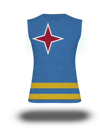 aruba flag: athletic sleeveless shirt with Aruba flag on white background and shadow Stock Photo
