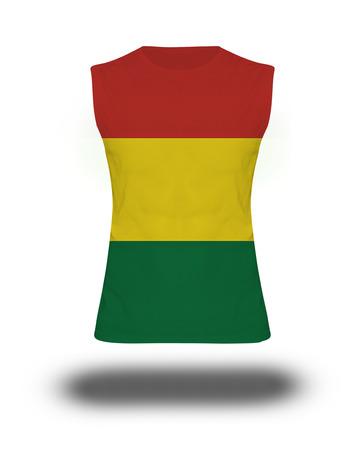 bandera de bolivia: camisa sin mangas de atletismo con bandera de Bolivia en el fondo blanco y la sombra