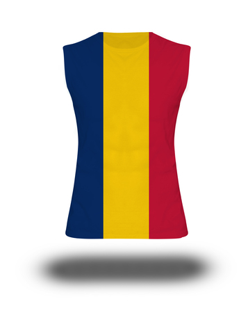 chad flag: athletic sleeveless shirt with Chad flag on white background and shadow Stock Photo