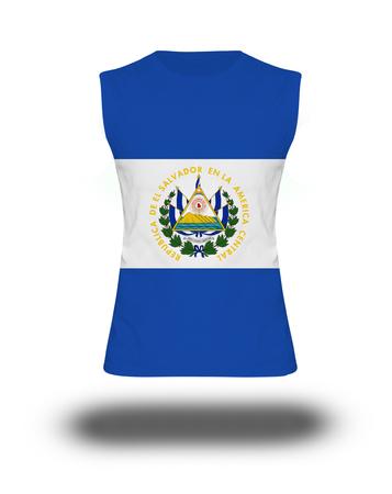 bandera de el salvador: camisa sin mangas deportivo con la bandera El Salvador en el fondo blanco y la sombra Foto de archivo