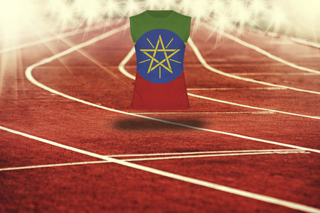 ethiopia  flag: red running track with lines and Ethiopia flag on shirt