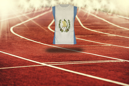 flag of guatemala: red running track with lines and Guatemala flag on shirt