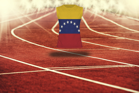 venezuela flag: red running track with lines and Venezuela flag on shirt Stock Photo