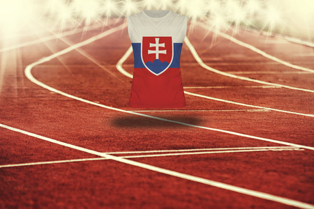 slovakia flag: red running track with lines and Slovakia flag on shirt Stock Photo