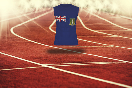 gb: red running track with lines and Virgin Islands GB flag on shirt