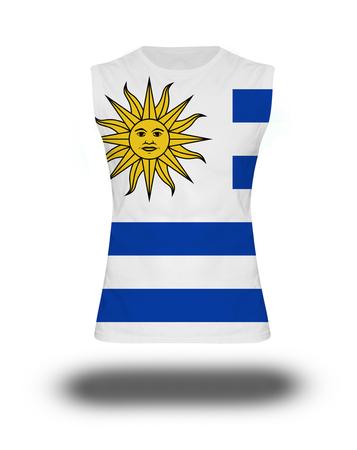 bandera de uruguay: athletic sleeveless shirt with Uruguay flag on white background and shadow