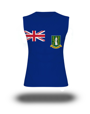gb: athletic sleeveless shirt with Virgin Islands, GB flag on white background and shadow Stock Photo
