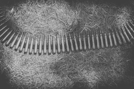 9mm ammo: ammo to machine guns on grass, black and white Stock Photo