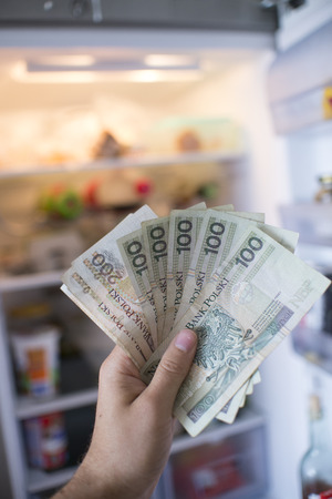 major household appliance: hand with PLN  money in front of open fridge