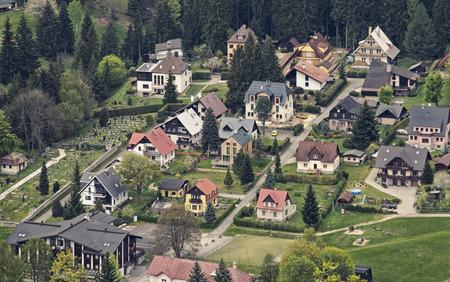 santas village: Aerial View of Harrachov, Czech Repiblic, Europe Stock Photo