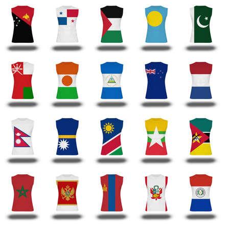 bandera de panama: compilaci�n de la camisa de la bandera nacionales icono sobre fondo blanco parte 7
