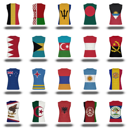 compilation: compilation of nationals flag shirt icon on white background part 110 Stock Photo