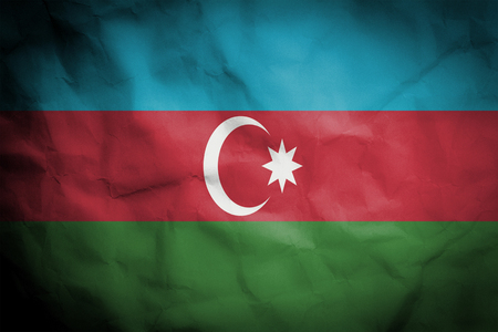 crinked paper background with blending  Azerbaijan flag