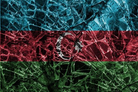 blending: Broken window glass with blending  Azerbaijan flag