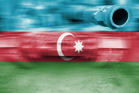 tanque de guerra: War tank with blending  Azerbaijan flag Foto de archivo