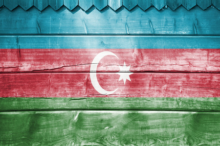 blending: wood backround or texture with blending  Azerbaijan flag Stock Photo