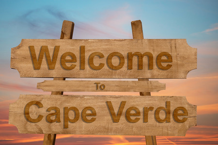 Welcome to Cape Verde sing on wood background