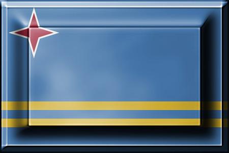 aruba flag: press button with blending  Aruba flag Stock Photo