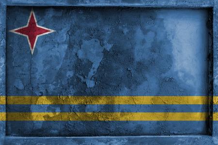 aruba flag: Grunge gothic rock frame with blending  Aruba flag