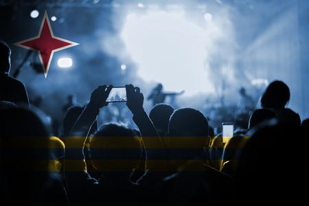 aruba flag: live music concert with blending Aruba flag on fans