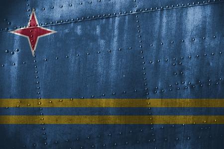 aruba flag: metal texutre or background with Aruba flag