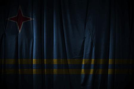 aruba flag: dark curtain background or texture with blending  Aruba flag