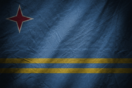 aruba flag: dark textile background or texture with blending  Aruba flag
