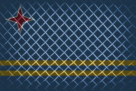 aruba flag: behind the steel mesh with blending  Aruba flag