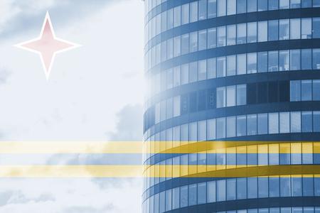 aruba flag: buisness tower concept with blending  Aruba flag