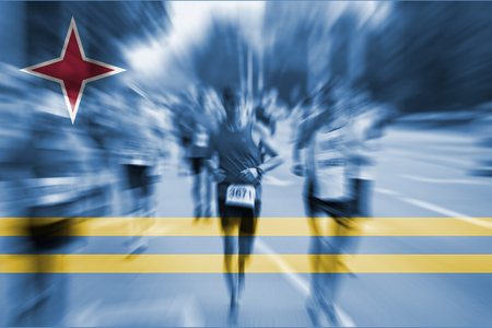 aruba flag: Marathon runner motion blur with blending  Aruba flag