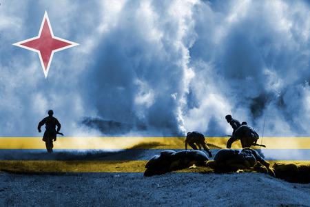aruba flag: war theme with blending  Aruba flag