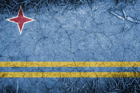 aruba flag: Cracked earth backround with blending  Aruba flag