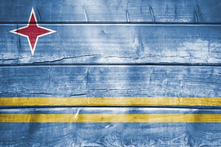 aruba flag: wood backround or texture with blending  Aruba flag