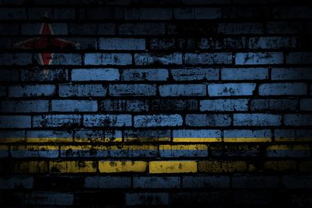 aruba flag: dark brick wall backround or texture with blending  Aruba flag