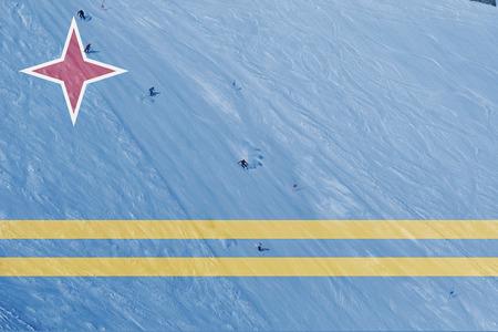aruba flag: winter ski theme with blending  Aruba flag Stock Photo