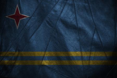 aruba flag: leather background or texture with blending  Aruba flag